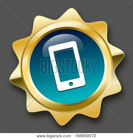 Communication seal or icon with smartphone symbol. Glossy golden seal or button.