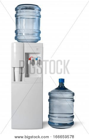 Water Dispenser with Two Big Water Bottles - Isolated