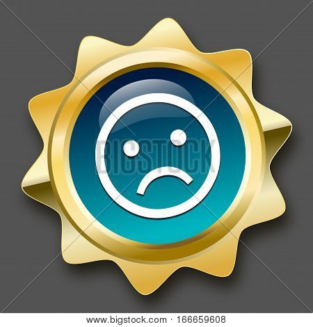 Bad choice seal or icon with negative smiley symbol. Glossy golden seal or button.