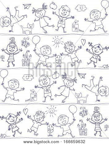 Happy kid cartoon doodle. In the style of children's drawings. Seamless pattern. Freehand drawing. Vector illustration. Isolated on white background