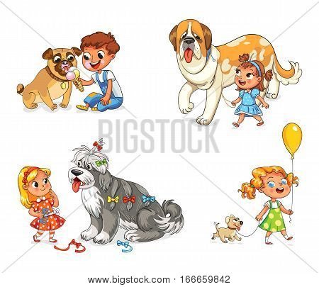 Boy and dog eating one ice-cream. Little girl walking with big St. Bernard. Beautiful girl is combing her dog with brush. Child walking with dog on leash. Funny cartoon character. Vector illustration