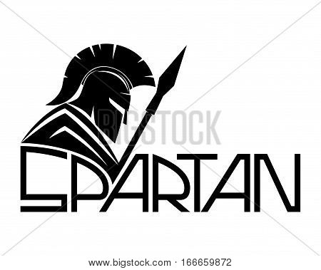 Spartan black sign on a white background.
