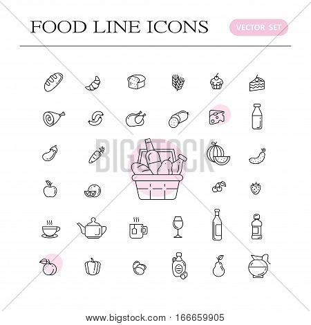 Set of food and drinks icons for restaurant grocery store commercial mobile and web. Collection infographic logo and pictogram