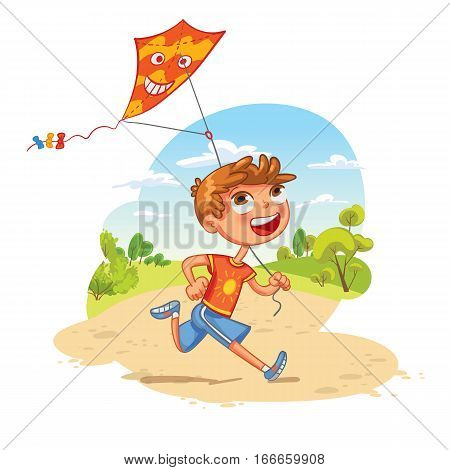 Boy plays with a kite in the park. Funny cartoon character. Vector illustration. Isolated on white background