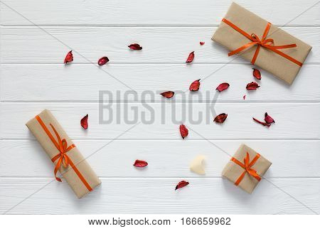Valentine Day Concept Decorated Gift Boxes White Wood Flower Petals