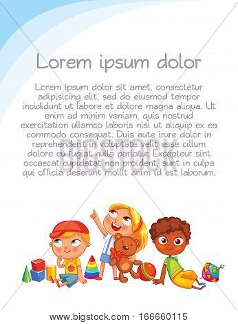Playground. Colorful template for advertising brochure. Ready for your message. Children look up with interest. Kid pointing at a blank template. Funny cartoon character. Vector illustration