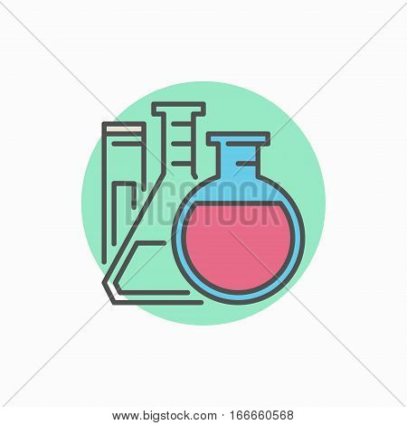 Flasks with test tube colorful icon - vector lab glassware concept sign or logo element