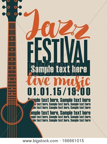 vector banner for the concert of jazz live music with a guitar