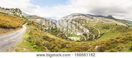 Panoramic view of mountain landscape in summer, Spanish routes unspoilt nature