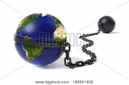 The world hold back by a Ball and Chain restraint device