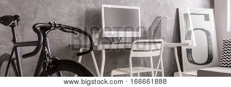 Unisex monochrome minimalist office for active hipster