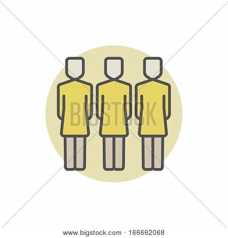Three women colorful icon. Vector group of three women concept symbol. Female business team sign