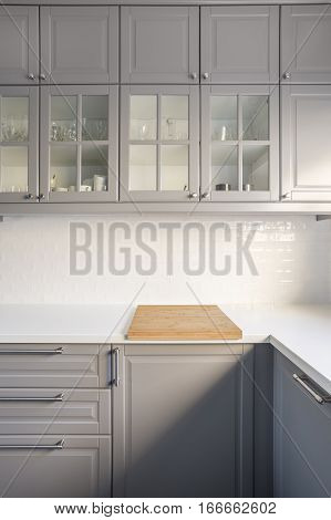 Kitchen With Grey Cupboards