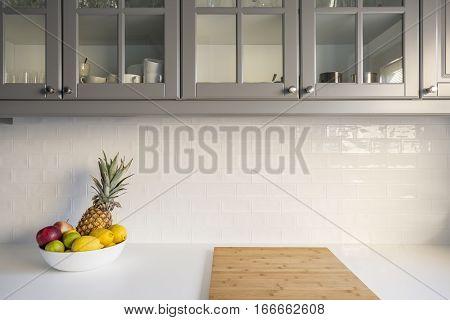 Kitchen With White Worktop