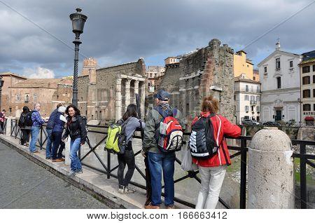 Ancient Roman Imperial Forum Of Emperor Minerva In Rome, Italy