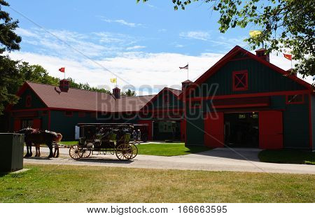 MACKINAC ISLAND - JULY, 2016: The exterior of the carriage museum.