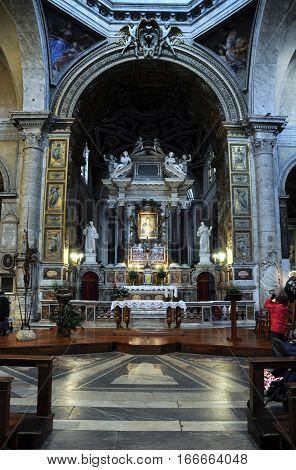 Interior Of The Basilica Of Santa Maria Del Popolo. Rome, Italy