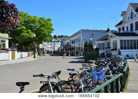 MACKINAC ISLAND, MI - JULY, 2016: Bicycles line the streets on this island where cars are not permitted.