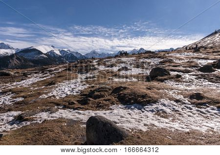 Mountain glade in the Tatra Mountains on a beautiful sunny day