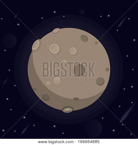 vector illustration of a large glowing moon with craters and valleys, stars, meteorites, kamet in space on a dark background.