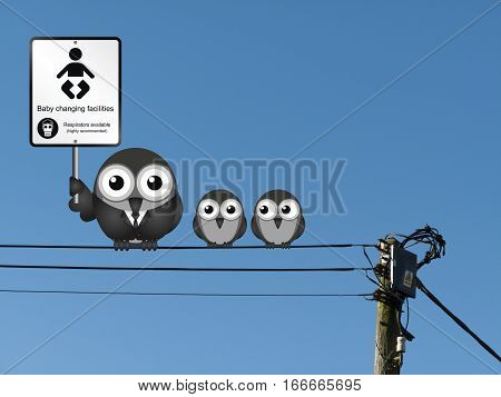 Comical baby changing facilities with respirators available when changing soiled  nappies perched on electrical cables