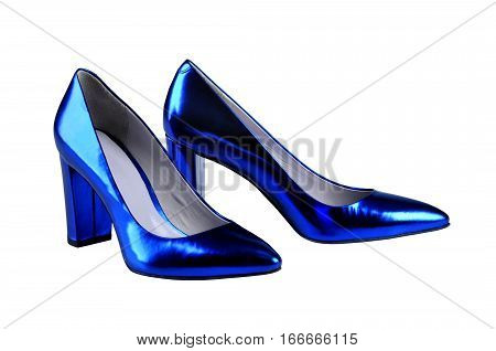 blue female patent leather shoes isolated on white background