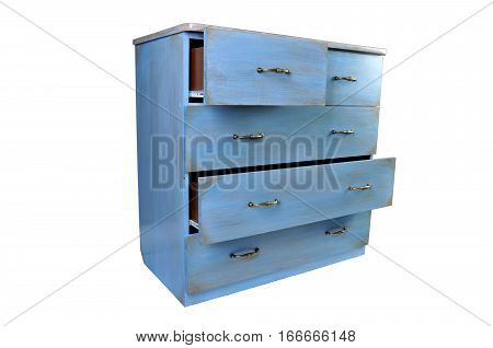 old vintage antique wooden chest of drawers isolated on white.