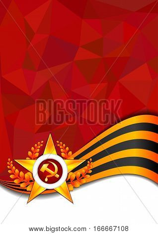Card with golden George star and George ribbon on red polygonal background. Defender of Fatherland day in Feb 23 or Victory day in May 9. Vector illustration