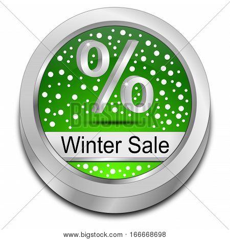 green Winter Sale Button - 3D illustration