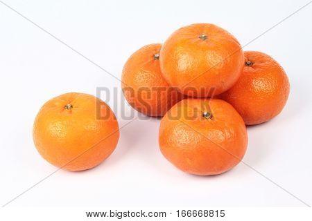 Golden Orange On White Background, To Celebrate For Chinese Festival.