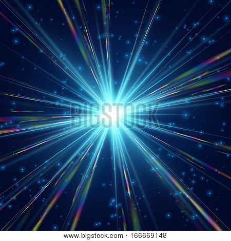 Cosmic radiation Sharp rainbow light background design