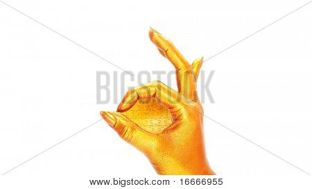 Gold hand showing sign of okay