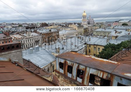 Kind from height on an old part of the city of St.-Petersburg Russia