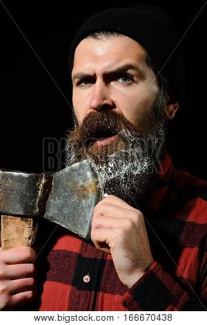 Scared Man With Axe