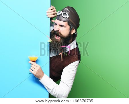Angry Handsome Bearded Pilot