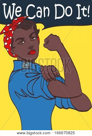We Can Do It. World War 2 poster boosting morale of American women contributing to the war effort. Afro woman on poster, eps 10.