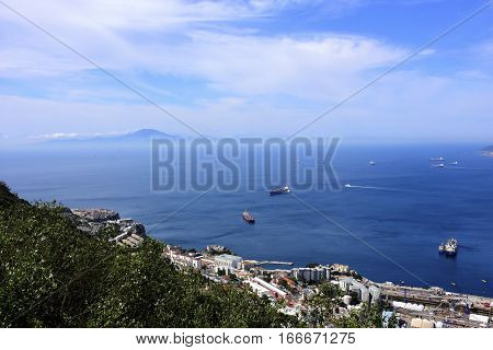 Bay of Gibraltar and in the distance Morocco and North Africa.