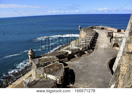 Fort in Puerto Rico Castillo de San Felipe del Morro overlooking the Atlantic Ocean.