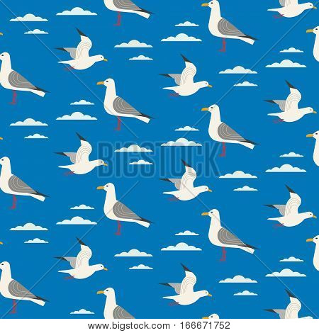 Maritime seamless pattern. Seagull nautical symbol. Freehand drawn cartoon sailing signs. Vector Seashore summer marine element. Template sea beach background for textile, packaging, print projects