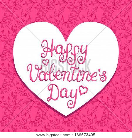 Happy valentines day card with lettering on a red heart background