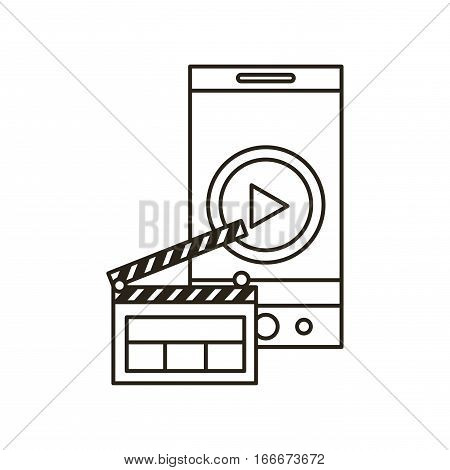 smartphone device with play button on screen and clapboard icon over white background. vector illustration