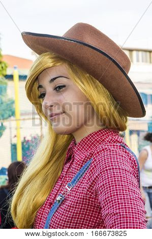 SELARGIUS, ITALY - June 29, 2014: The enchanted garden in Cosplay - Sardinia - portrait of a beautiful girl in cosplay costume