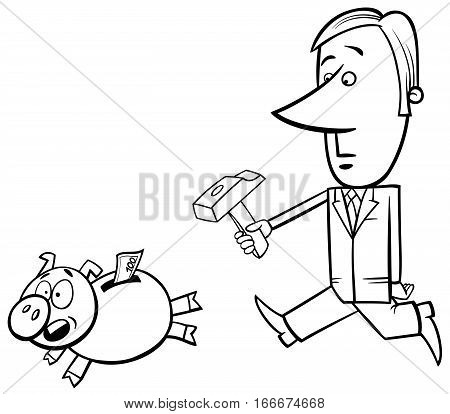 Businessman And Piggy Bank