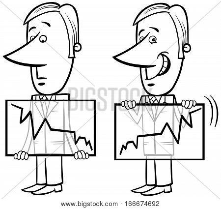 Businessman And Chart Cartoon