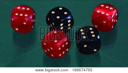 Dices. Playing a game with dice of two colors.