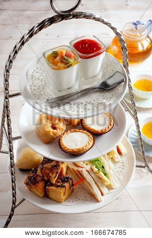 High Tea Set With Dessert. Afternoon Tea Set