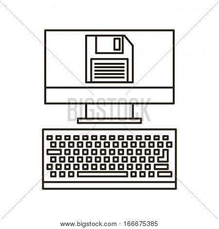 computer device with diskette icon over white background. vector illustration