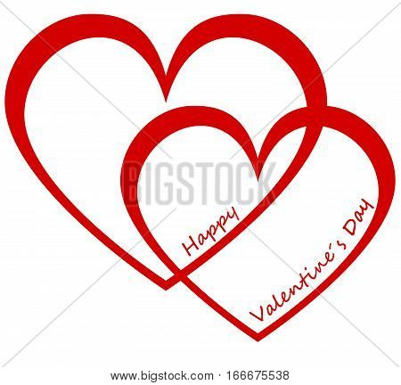 Two hearts and text Happy Valentine`s Day