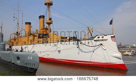 USS Olympia battle ship at Philadelphia pier