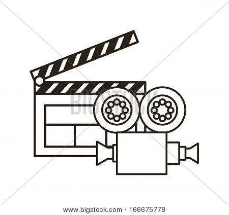 video recorder and clapboard over white background. vector illustration